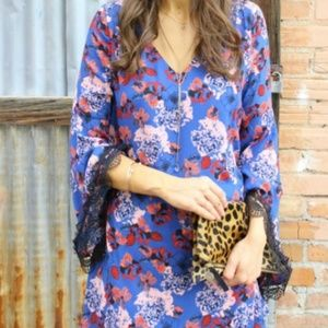 Multicolor print Bell Sleeve Mini Dress